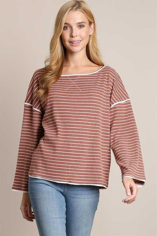 Brush knit boat neck top