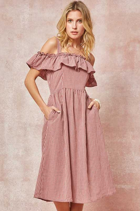 Striped Flounce Midi Dress with Pockets