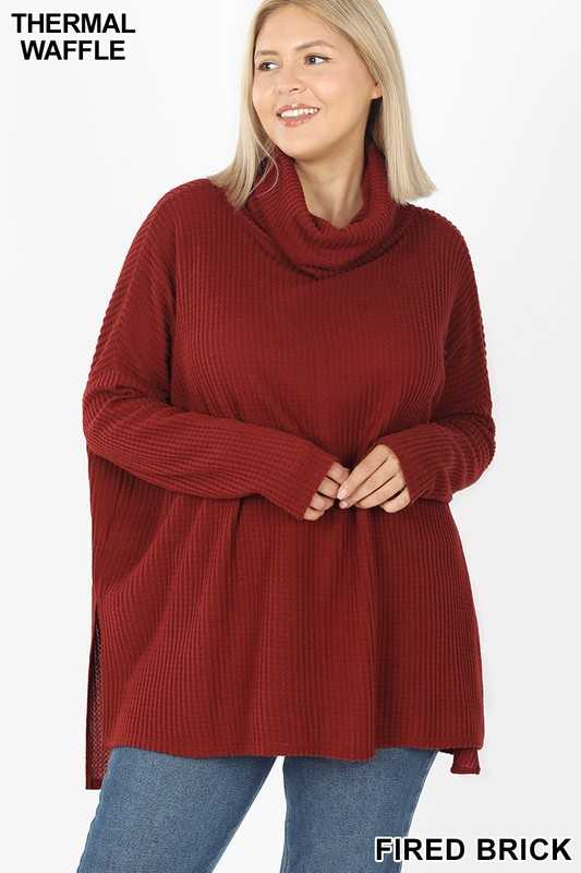 PLUS BRUSHED THERMAL WAFFLE COWL NECK SWEATER