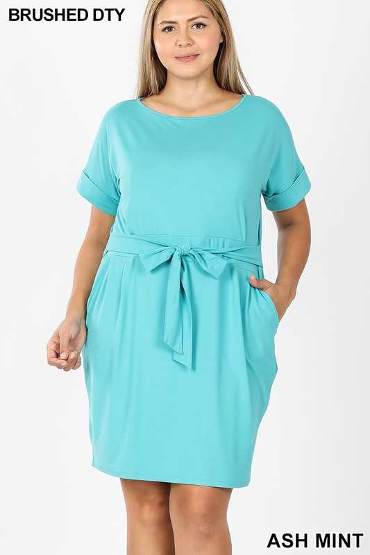 PLUS BRUSHED DTY TIE-BELT DRESS