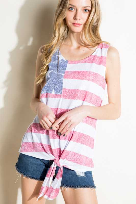 AMERICAN FLAG TIE FRONT TANK TOP