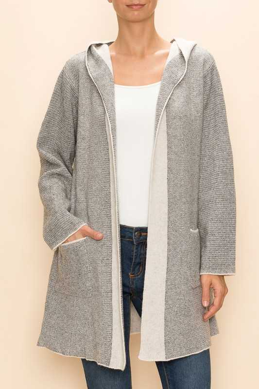 DUSTER SWEATER JACKET WITH HOODIE