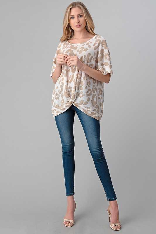 ANIMAL PRINT KNOTTED BOTTOM LOOSE FIT TOP