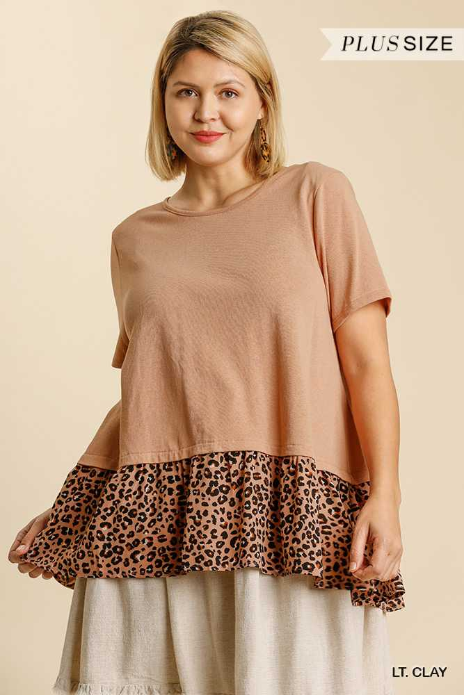 Animal Print Contrast Fabric Short Sleeve Top