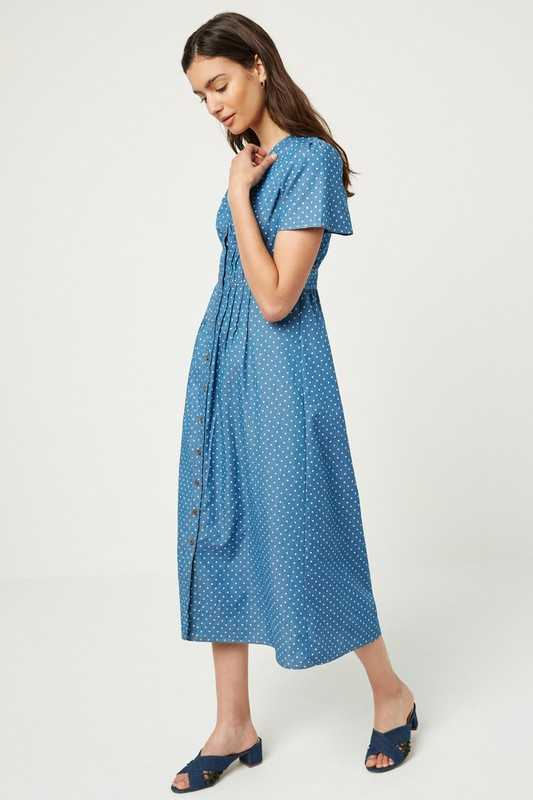 Polka Dot Button Down Midi Dress