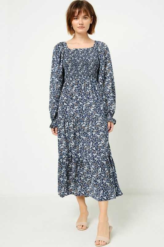 Womens Long Sleeve Smocked Square Neck Maxi Dress