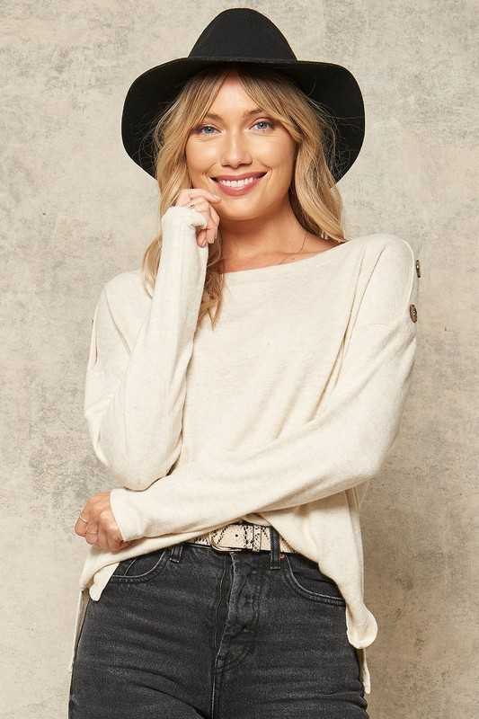 Button-Trimmed Brushed Knit Boat Neck Top