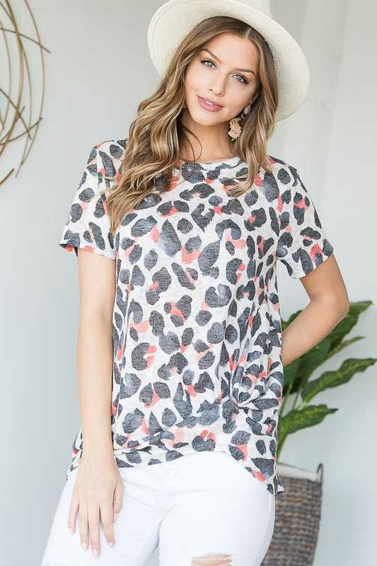 ANIMAL PRINT TIARA FRONT TIE TOP