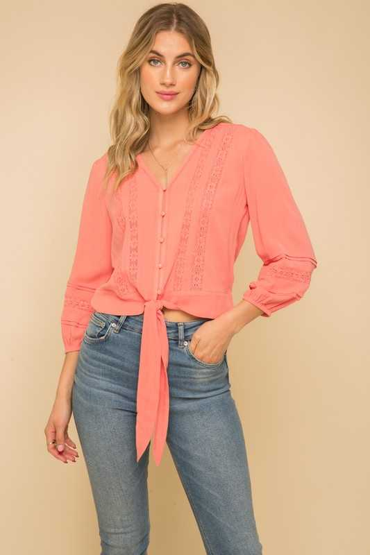 LACE TRIMMED BUTTON DOWN BLOUSE TOP