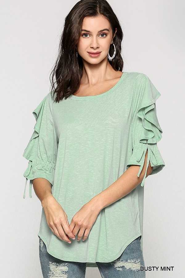 SOLID SLUB KNIT OPEN RUFFLE TIED SLEEVE TUNIC TOP