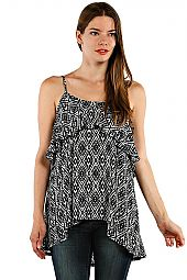 ASYMMETRICAL ABSTRACT GEO PRINT TOP