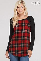 PLUS SOLID SLEEVES PLAID TOP