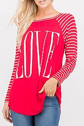 LOVE GRAPHIC PRINT JERSEY TOP