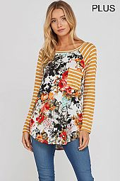 PLUS STRIPE POCKET SLEEVES TRIM FLORAL TOP