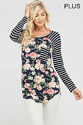 STRIPE SLEEVES TRIM FLORAL JERSEY TOP