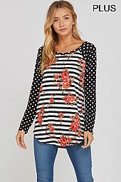 PLUS POLKA DOT SLEEVES FLORAL JERSEY TOP