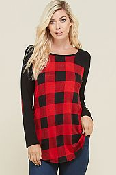 ELBOW PATCH PLAID TRIM RAGLAN TOP