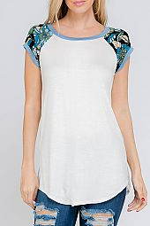 PLUS FLORAL TRIM JERSEY TOP