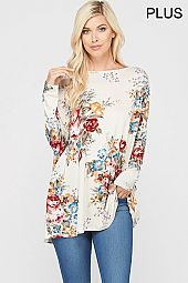 PLUS FLORAL BOXY JERSEY TOP