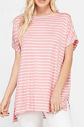 PLUS STRIPED JERSEY BOXY TOP