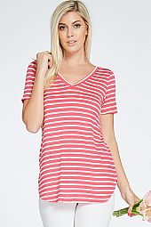 STRIPE PRINT KNIT V-NECK TUNIC