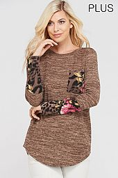 PLUS LEOPARD FLORAL TRIM LONG SLEEVES TOP