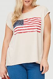 AMERICAN FLAG PRINT SOLID TOP