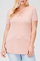CRISSCROSS STRAP ACCENT SOLID TOP