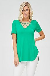 SOLID JERSEY KNIT TOP