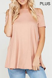 PLUS COLD SHOULDER JERSEY TOP