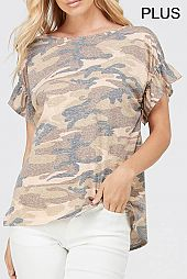 PLUS RUFFLE SLEEVES HEM CAMOUFLAGE TOP