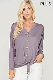 PLUS BUTTON TRIM JERSEY FRONT TIE TOP