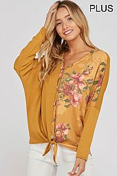 FLORAL FRONT TIE BUTTON TIE V NECK TOP