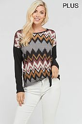 PLUS FRONT TIE CHEVRON TOP