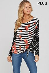PLUS POLKA DOT BACK FRONT TIE FLORAL TOP