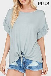 PLUS RUFFLE SLEEVES JERSEY TOP