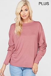 PLUS TWIST KNOT SLEEVES JERSEY BOXY TOP