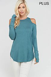 PLUS COLD SHOULDER LONG SLEEVES TOP