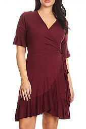 RUFFLE JERSEY WRAP DRESS
