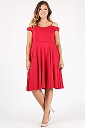 PLUS OFF SHOULDER FIT AND FLARE DRESS
