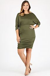 PLUS RUCHED DETAIL SOLID DRESS