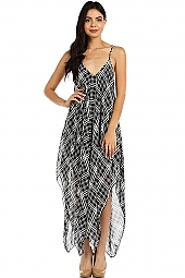 PLAID PRINT ASYMMETRIC CHIFFON DRESS