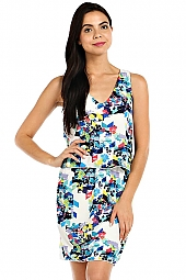 ABSTRACT PRINT SLEEVELESS FLOUNCE DRESS