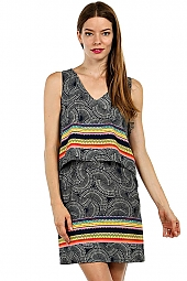 ORIENTAL BORDER PRINT SLEEVELESS DRESS