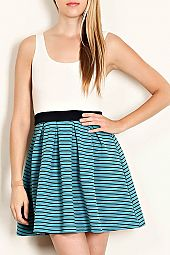 STRIPE PRINT CONTRAST SLEEVELESS COMBO DRESS