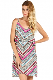 ETHNIC CHEVRON PRINT FLOUNCE WOVEN DRESS