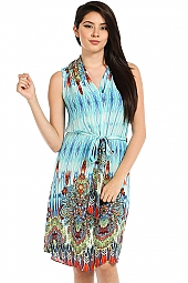 CAFTAN PRINT DRAPED NECKLINE DRESS