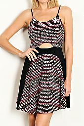 PATTERN PRINT CUT OUT FRONT DRESS