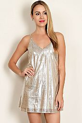 METALLIC WOVEN SLIP ON DRESS