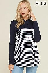 PLUS SOLID TRIM STRIPE HOODED PULLOVER